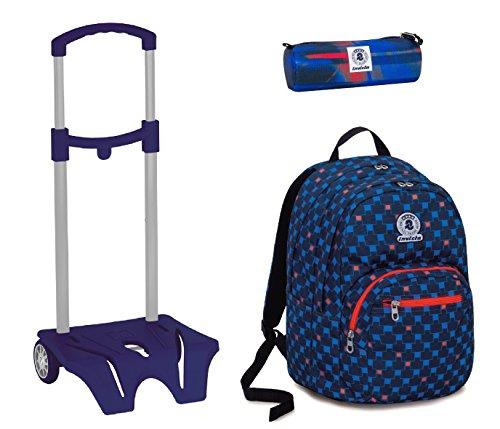 Zaino format invicta + easy trolley + portapenne - blu rosso - scuola elementari e medie 31 lt