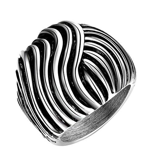 PAURO Herren Edelstahl Vintage Stripe Ring Punk Style Größe (Kostüm Weiblich Rost)