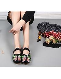 DESY Chaussures brodées, semelle tendineuse, style ethnique, flip flop féminin, mode, confortable, sandales décontractées