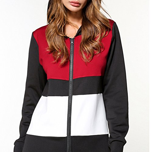 Zhhlaixing Elegante Casual Hooded Long-sleeved Front Zipper Splicing Long Shirt Slim Sweater Dresses per Donne Gray