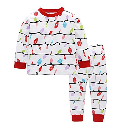 JUNERAIN Christmas Family Matching Clothes Set Kids Long Sleeve T-Shirt  Pants (2- c57be6585