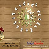 #10: BikriKendra - Golden Sun with Silver Butterfly - 3D Acrylic Mirror Wall Décor Stickers for Home & Office - Factory Outlet - Premium Quality
