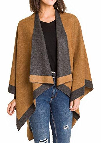 Warm elegant soft shawl for women for fall, winter as a shawl, scarf wrap (Dunkelgrau Beige) (Wrap Cardigan Schal)