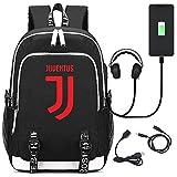 FZ FUTURE USB Zaino per Scuola, La Stella del Calcio Juventus Zaino, Zaino Bambino elementari, Zaino di Svago, per Scuola, Business,Viaggio,Black