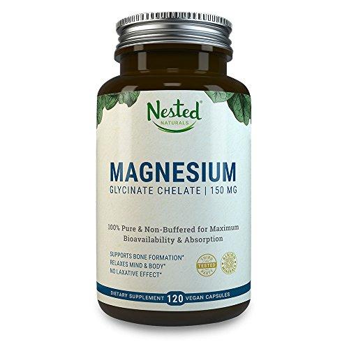 Magnesiumglycinat (Magnesium) 150 mg in veganen Kapseln für gute Absorption | 100% rein & ungepuffert für beste Bioverfügbarkeit & Absorption OHNE abführende Wirkung - GVO-frei | Nested Naturals