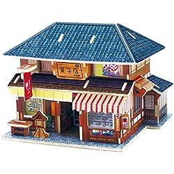 DEHANG 3D Puzzle Rompecabezas de madera Modelo de Arquitectura - Casa japonés de postre - Regalos para niños