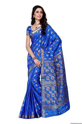 Mimosa Women'S Tussar Silk Saree With Blouse,Color:Royal Blue(3186-103-TUS-RBLU)