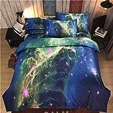 Webla - Juego de Ropa de Cama, 4 Piezas Juego de Cama Ropa de Cama Poliéster 3D Starry Planet, Funda de Edredón 1Pc 200 * 230Cm Y 1Pc Sábana 180X230Cm Y Fundas de Almohada 2Pc 50X75 Cm