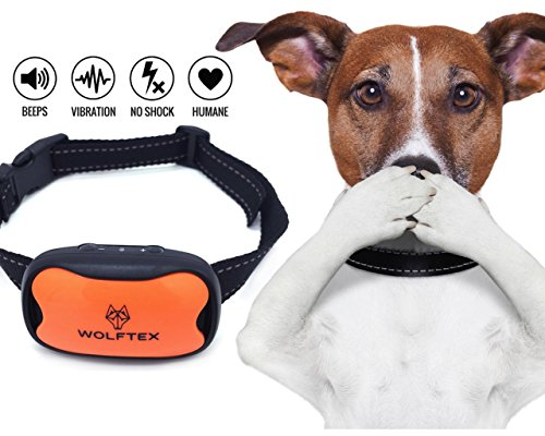 wolftex Original Hund Anti Bark Halsband mit ✅ LED Light, Stop gratis Hund Bellen Halsband, 7 Ebenen verstellbar mit Sound, Vibration, Bark Control kein Training Halsband Shock Bark Control Collar. fü (Halsband Bark Control)