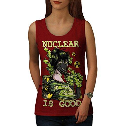 nuklear Gas Maske Verrückt Damen Schwarz S-2XL Muskelshirt | Wellcoda Rot