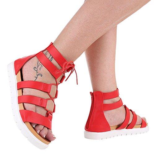 Scarpe Da Donna, H237-1, Sandali In Pizzo Strappy Rosso