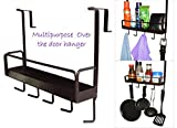 #3: Over The Door Hook Hanger with 5 Hooks for Towels, Trousers and Storage Tray for Perfume, Wallet