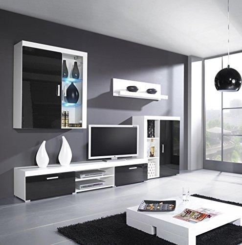 Wohnwand SAMBA mit LED Beleuchtung Wohnzimmer Möbel (Weiß / Schwarz Hochglanz)