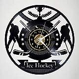 CNLSZM Elegante Creativo Hockey su Ghiaccio Disco in Vinile CD Design Orologio da Parete Silenzioso Stile retrò Fatto A Mano Decorazioni per La Casa Regalo No LED