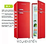Wolkenstein Retro Kühlschrank Rot Glanz A+ Kühl- Gefrierkombi