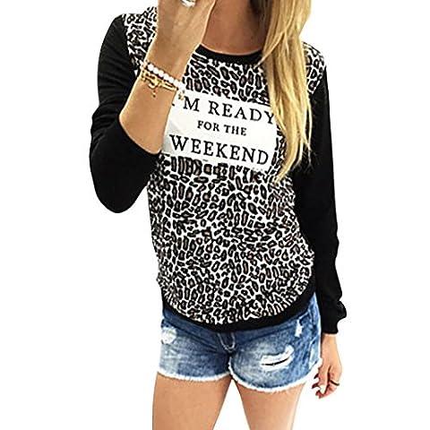 Tops, FEITONG Femmes Imprimé léopard à manches longues Casual vrac T-shirt Blouse (34/S, Noir)