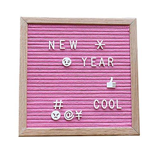 Menü-board Mit Buchstaben (Sharplace Letter Board Letterboard Buchstabenbretter aus Holz Filz Notiztafel Memo Boards mit Buchstaben Beutel Juteseil Haken - Rosa)