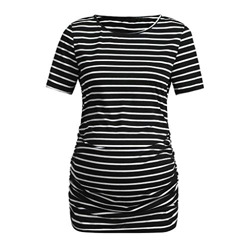Amphia - Schwangere Frauen mit kurzen ÄrmelnFrauen Mutterschaft Streifen Kurzarm Rundhals Freizeitkleidung Bluse - (Schwarz,L)