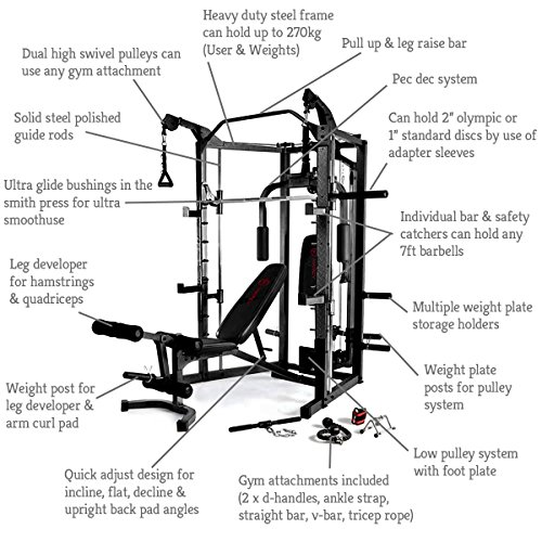 Marcy eclipse deluxe smith machine gym black red
