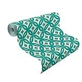 rasch 524727 Vlies-Tapete, Kacheln, Fliesen, Muster grün, Weiß