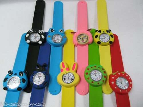 Lovely-Bendable-Kids-Children-3D-Animals-Cartoon-Plastic-Strap-Slap-Watches-1pcs