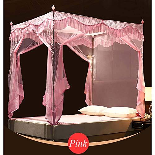 4 Ecke Baldachin,spitze Moskitonetze,elegante Premiun Vorhang Auf Netting Baldachin Für Twin,vollständige Bett,feines Netz Und Anti-mosquito-rosa Queen2