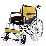 KOSHSH Transportrollstühle Reise Ultra-Selbstfahrende Rollstuhl-Faltender Leichter Krankenwagen-Stuhl-Deluxer Aluminiumbewegliche Entfernbare Fußrasten