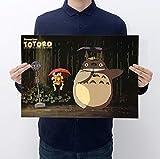 PWERWOTAM Affiches Rétro Hayao Miyazaki Totoro, Stickers Muraux en Papier Kraft, Affiche De Cinéma Vintage Home Decor 51 * 35.5Cm