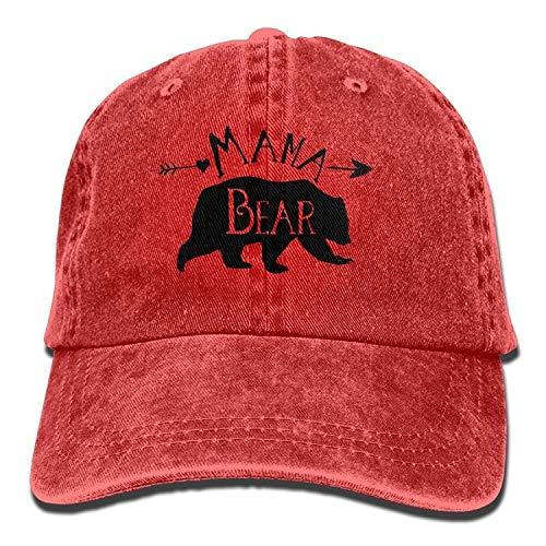 Personality Caps Hats Mama Bear Denim Baseball Caps Hat Adjustable Cotton Sport Strap Cap for Men Women
