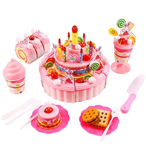 Smibie Pastel de Cumpleaños Juguete para Cortar Set de Juguete de Comida con Postre Frutas Cookies Cupcake Regalo de Navidad Reyes Magos para Niños (Rosa)
