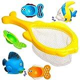 6 tlg Set: Badewannenspielzeug / Wasserspielzeug & Spielzeugnetz -