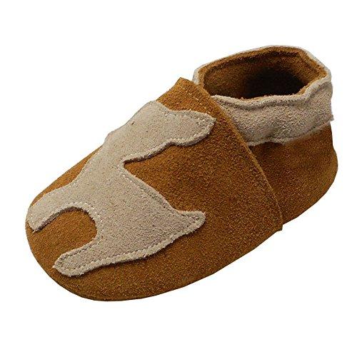 YIHAKIDS Premium Weiche Leder Krabbelschuhe Babyschuhe Kleinkind Lauflernschuhe(Braunes Wildleder,24-36 Monate) (Schuhe Jungen Braune)
