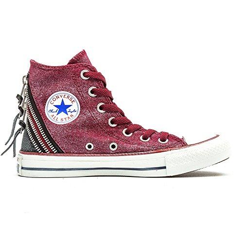 Converse Chuck Taylor All Star Femme Sparkle Wash Tri Zip Hi, Chaussures de Gymnastique Mixte Adulte Rouge - rosso (oxheart)