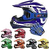 Leopard LEO-X17 Casco de Motocross para Niños Azul S (49-50cm) y Guantes S(5cm) y Gafas ECE Homologado