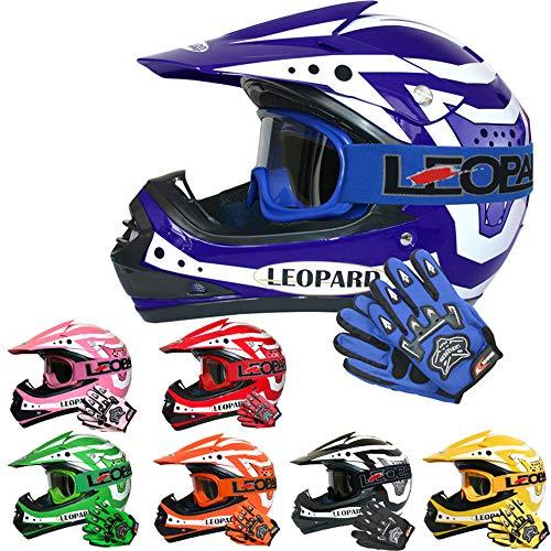 Leopard LEO-X17 Kinder Motocross MX Helm { Motorradhelm + Handschuhe + Brille} Blau L (53-54cm) ECE Genehmigt Crosshelm Kinderquad Off Road Enduro Sport