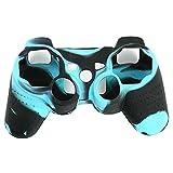 Skitic Custodia Cover in Silicone Camouflage Copertura Cassa Skin Protettiva per Sony Playstation PS3 Remote Controller - Nero Blu