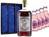 Gin Tonic Set Geschenkset - Monkey 47 Schwarzwald Sloe Gin 0,5l (29% Vol) + 4x Goldberg Indian Hibiscus Tonic 200ml inkl. Pfand MEHRWEG -[Enthält Sulfite]