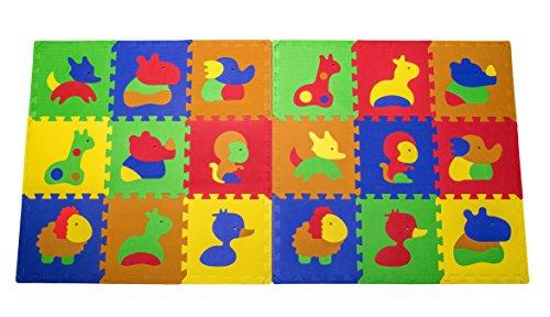 Puzzlematte - Kinder-Spielmatte aus 18 Puzzleteilen - Krabbeldecke mit abnehmbaren Ränder - farbige Bodenmatte - Spielteppich mit Tierbildern - formamidfreie Schaumstoffmatte (Happy Mat PLUS)