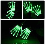 HITOP LED Beleuchtung blinkt Finger begeisterte bunte Handschuhe für Licht Show 1 Paar (grün)