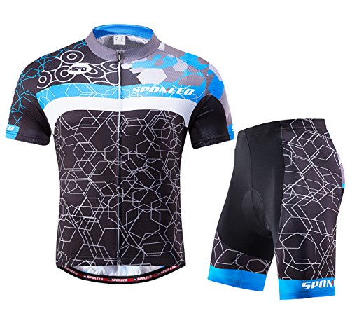 sponeed Herren Radsport-Outfit Set MTB Fahrrad Trikot Road Biker Shorts Trianthlon Radbekleidung Shirts, Herren, Blau/Mehrfarbig, Asia XXL=US X-Large -