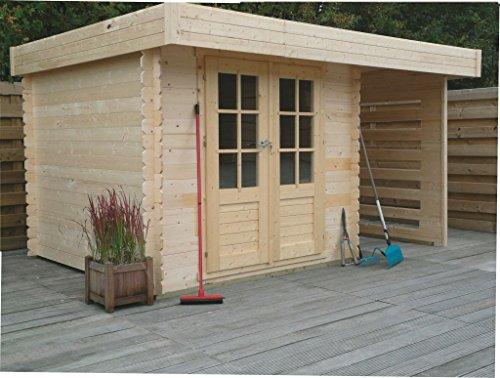 Gartenhaus mit Seitendach Pirum S8790CR8 - 19 mm Blockbohlenhaus, Grundfläche: 4,67 m², Flachdach