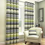 Tony's Textiles - Ösenvorhänge - gefüttert - gestreift - 2 Vorhangschals - Grün Grau Cremefarben - 229 x 137 cm B x L