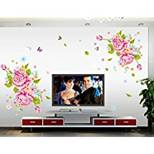 UberLyfe Pink Flower with Butterfly Wall Sticker Size 4 (Wall Covering Area: 120cm x 160cm) - WS-748