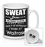 I WORK AT WAITROSE - retail worker mug - new quick and easy personalised office Ceramic Tea and Coffee Mug, the fast delivery perfect GIFT