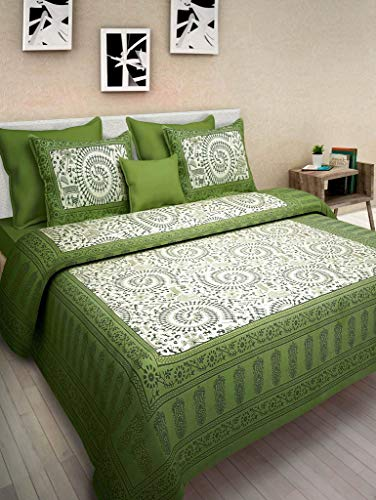 BedZone Cotton Comfort Rajasthani Jaipuri Traditional Double Bed Bedsheet with 2 Pillow Covers (King Size , Green)
