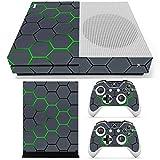 C-FUNN Verde Griglia Vinile Decalcomania Pelle Adesivi Cover per Xbox One S Console di Gioco & 2 Controllori