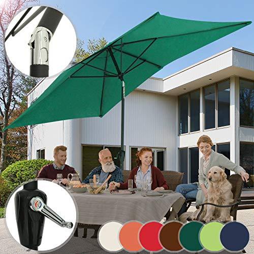 Miadomodo ombrellone rettangolare - 3x2m, inclinabile, protezione uv 30+, palo centrale, poliestere, colore a scelta - ombrellone da giardino, da spiaggia, terrazzo, balcone (verde)