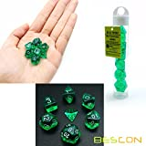 Bescon Mini Durchsichtig Polygonal Würfel Set 10mm- Small Transparente Mini Spielwürfel D&D Dice Set of 7, Kleine RPG - Rollenspiel Polyedrische Dice Set D4-D20 in Tube, Transparente Green