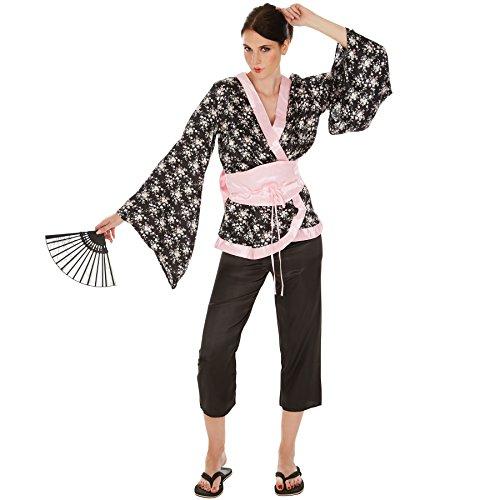 Frauenkostüm Geisha | Wundervoller Kimono | Bequeme Hose | inkl. Hüftgürtel und Bindeband mit großer Schleife (L | Nr. 300997) ()