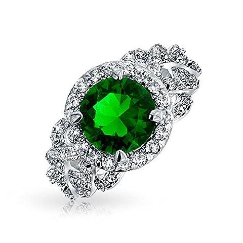 Bling Jewelry Emerald cut Pave simulées CZ Bague plaquée Rhodium